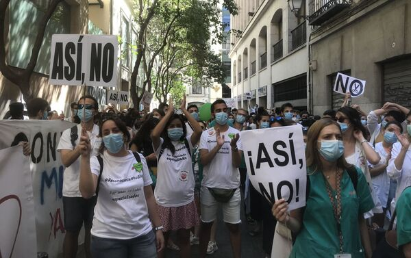 Manifestación de los médicos residentes en Madrid - Sputnik Mundo