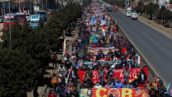 Protestas en demanda de elecciones en Bolivia (archivo) - Sputnik Mundo