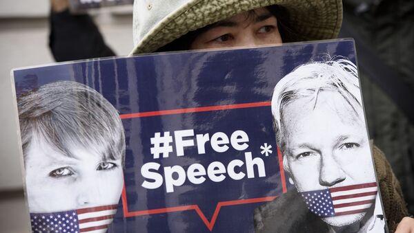Una protesta contra la extradición de Assange (archivo) - Sputnik Mundo