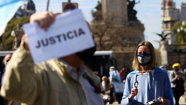 Manifestantes en contra de la reforma judicial propuesta por el Gobierno de Alberto Fernández - Sputnik Mundo