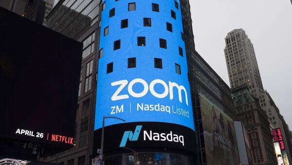 Una publicidad de Zoom en Nueva York - Sputnik Mundo