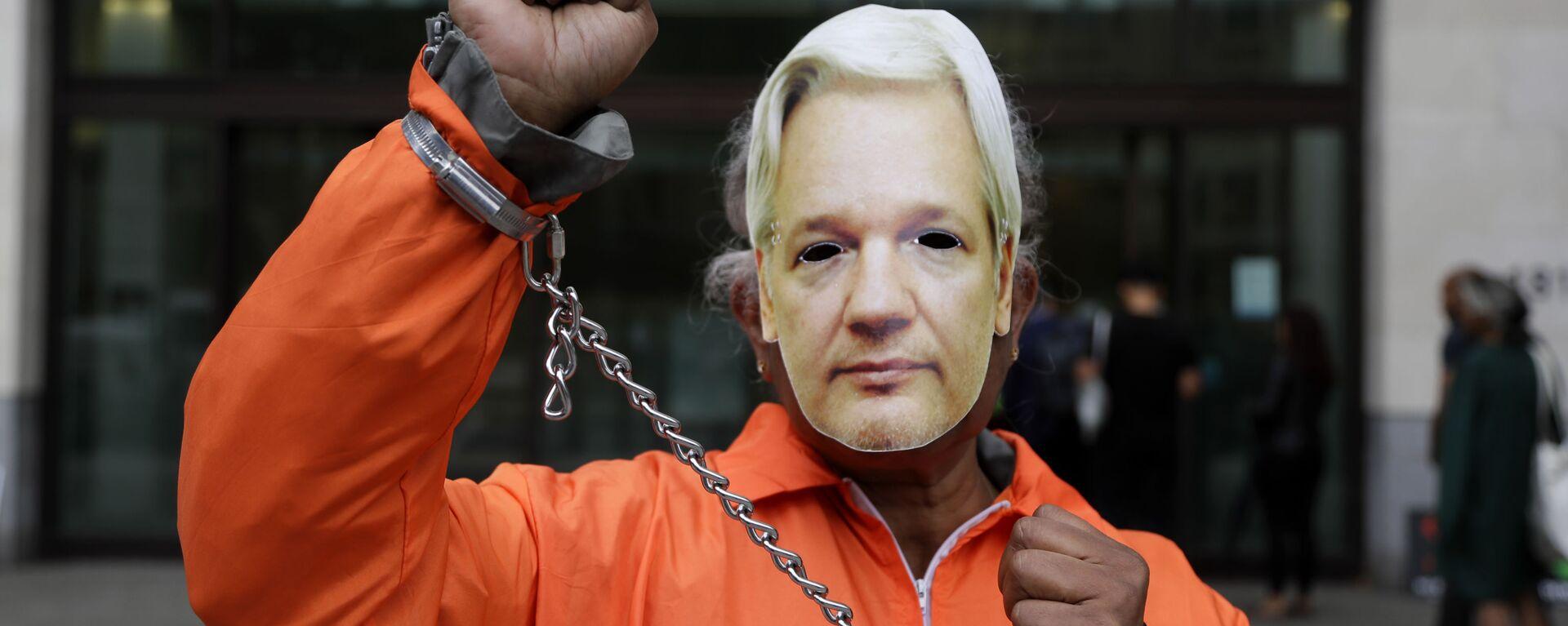 Un manifestante por la liberación del fundador de Wikileaks, Julian Assange - Sputnik Mundo, 1920, 16.09.2020