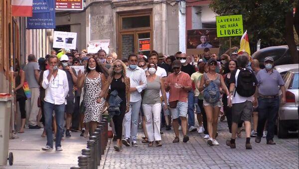 Nuevas protestas en Madrid contra las restricciones impuestas por la pandemia de coronavirus. - Sputnik Mundo