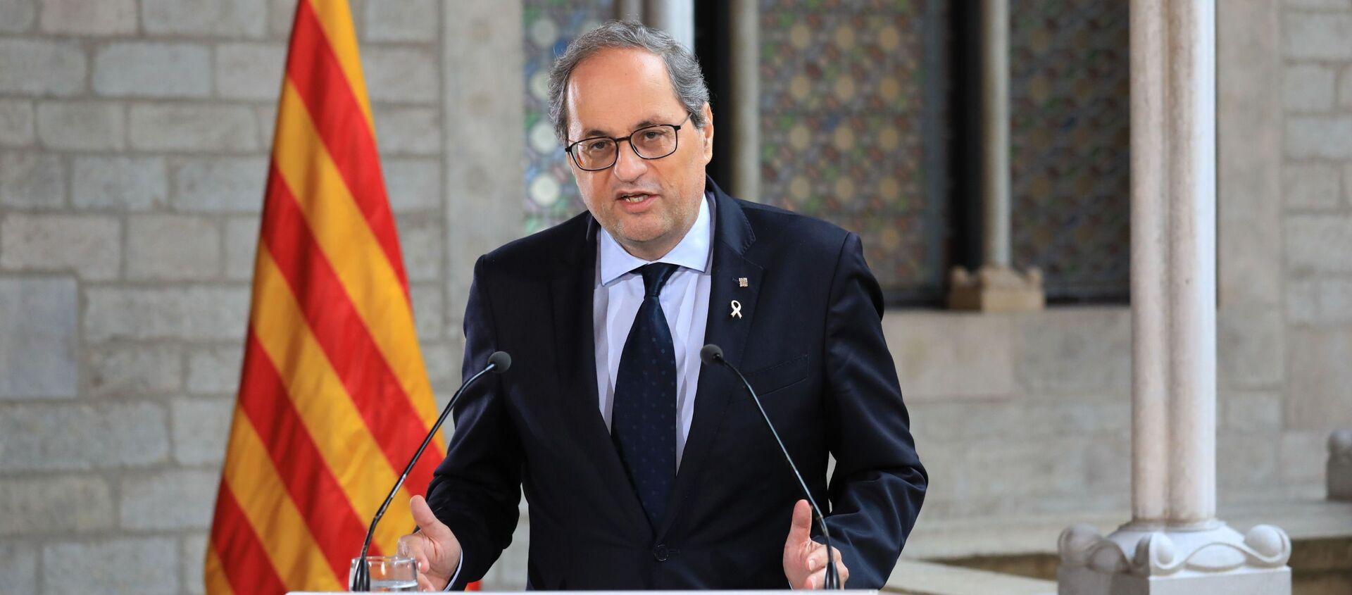 El presidente de la Generalitat de Catalunya, Quim Torra, durante un discurso en Barcelona - Sputnik Mundo, 1920, 17.09.2020
