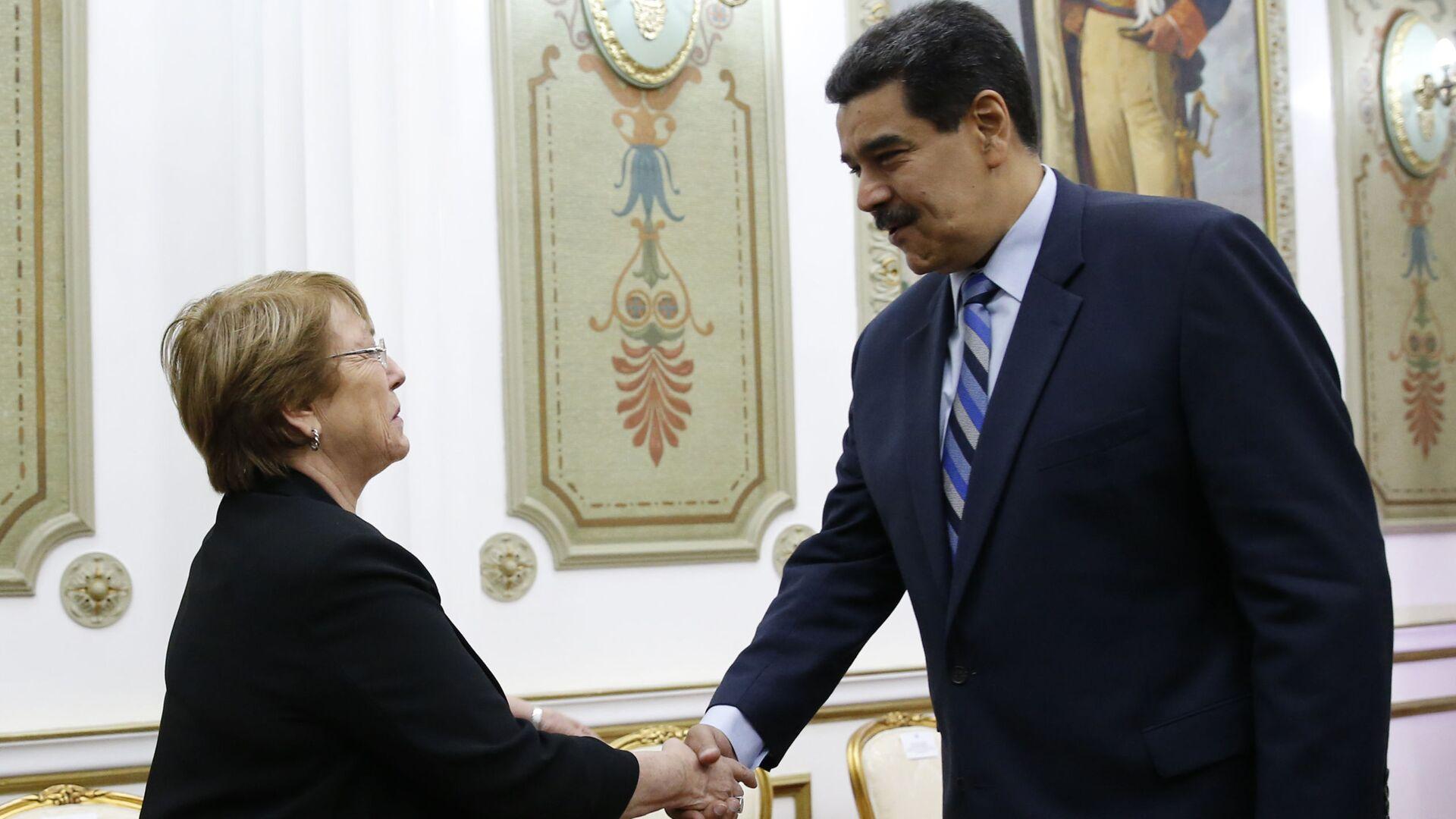 El presidente de Venezuela, Nicolás Maduro, junto a la Alta Comisionada de la ONU para los Derechos Humanos, Michelle Bachelet - Sputnik Mundo, 1920, 03.03.2021