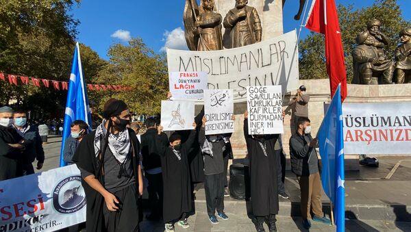 Varios manifestantes se concentran en Estambul para protestar contra Francia y las caricaturas de su profeta Mahoma - Sputnik Mundo