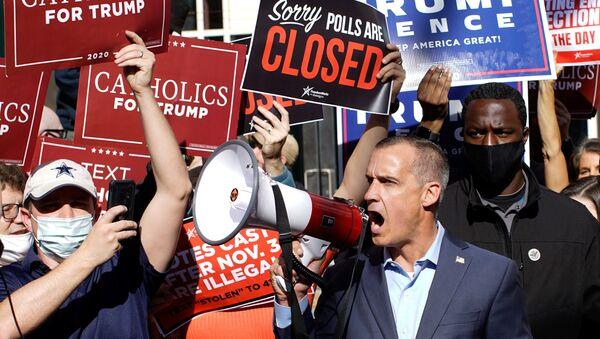Una manifestación a favor de Donald Trump - Sputnik Mundo