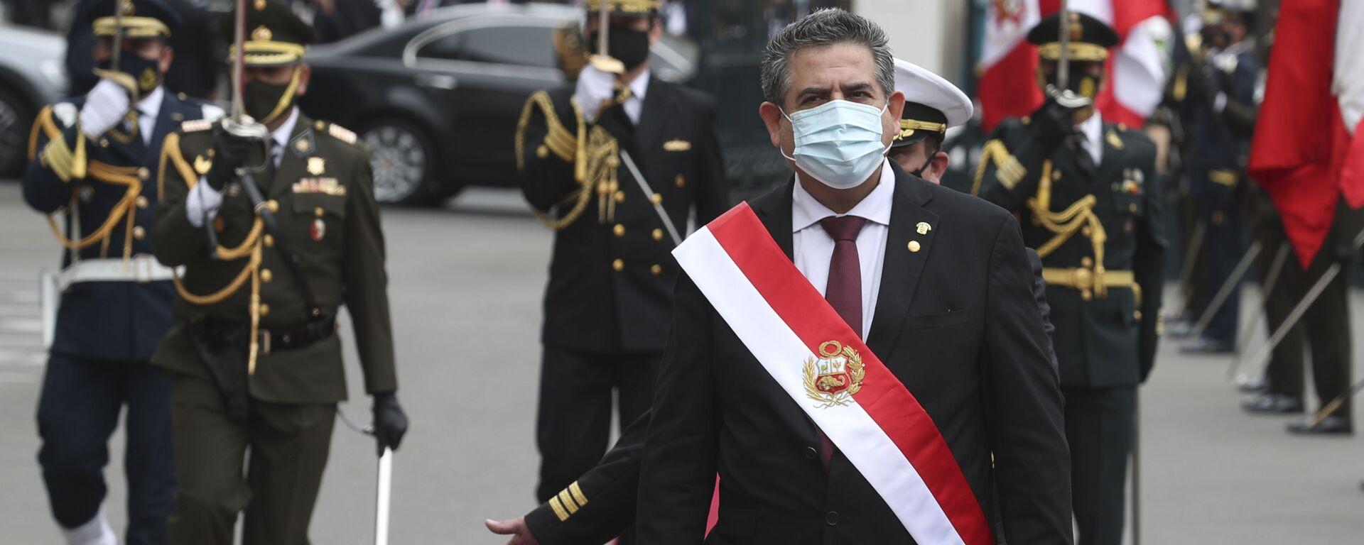 Manuel Merino durante su asunción como presidente de Perú - Sputnik Mundo, 1920, 04.10.2021