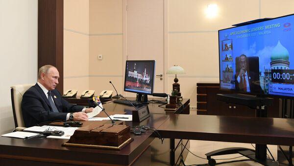El presidente ruso, Vladímir Putin, en la cumbre virtual de APEC - Sputnik Mundo