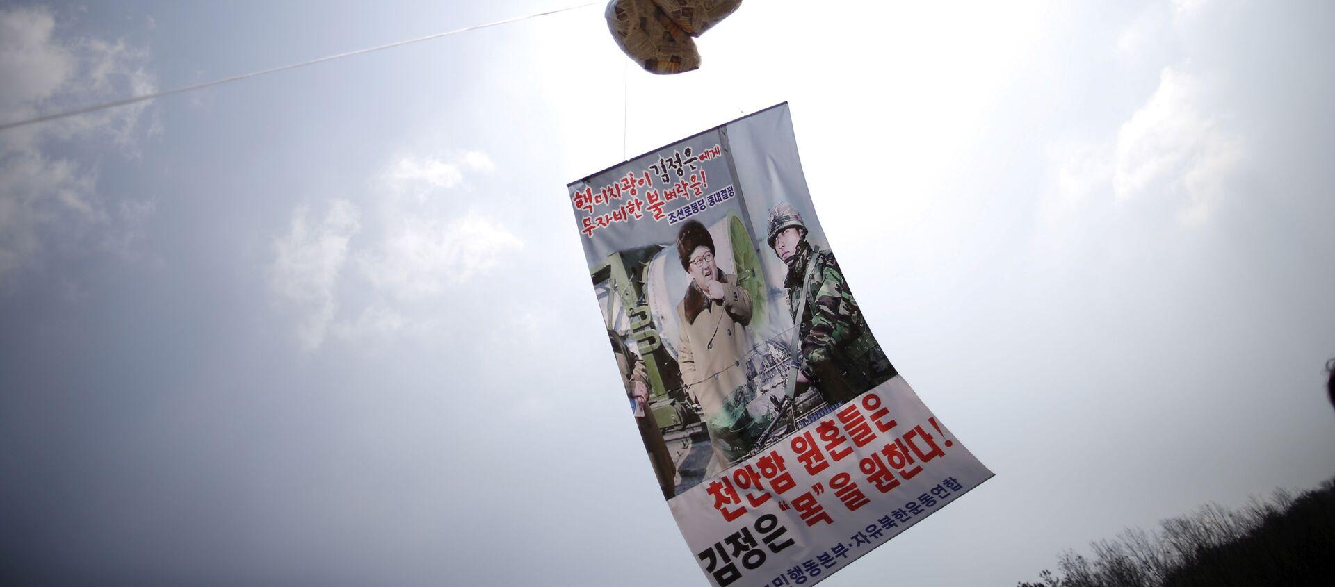 Un globo con folletos denunciando al líder norcoreano, Kim Jong-un, flota en el aire cerca de la zona desmilitarizada que separa las dos Coreas - Sputnik Mundo, 1920, 16.12.2020
