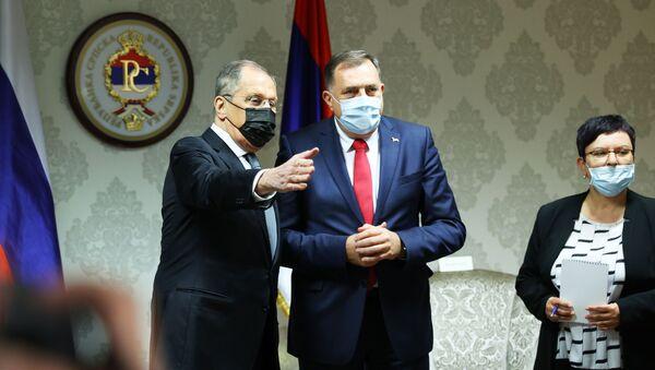 El ministro de Relaciones Exteriores de Rusia, Sergéi Lavrov, y el miembro de la Presidencia de Bosnia y Herzegovina, Milorad Dodik - Sputnik Mundo