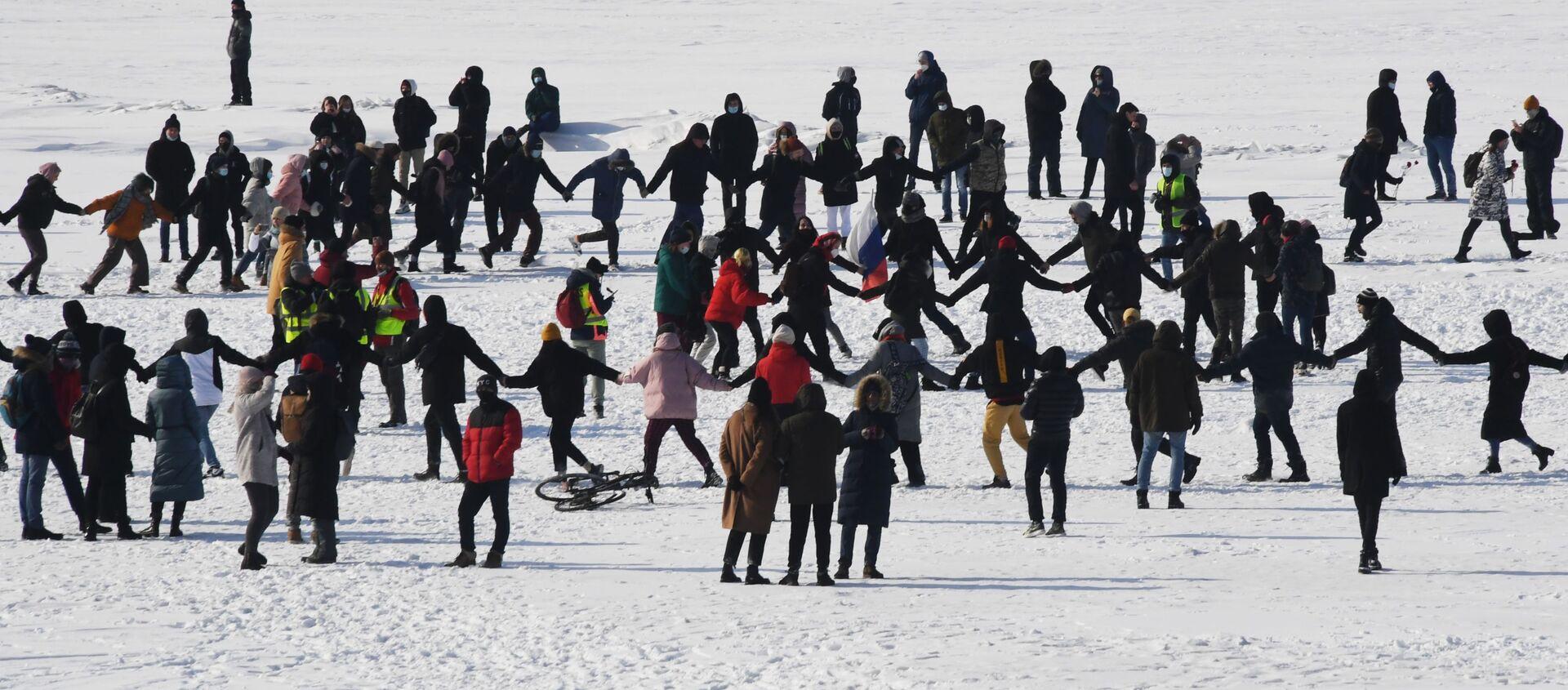 Protestas a favor del opositor ruso Alexéi Navalni en la ciudad deVladivostok (Rusia), el 31 de enero de 2021 - Sputnik Mundo, 1920, 31.01.2021