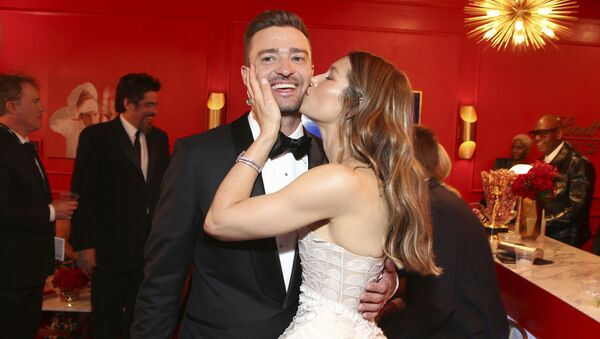 Justin Timberlake junto a su esposa, Jessica Biel, en 2018 - Sputnik Mundo