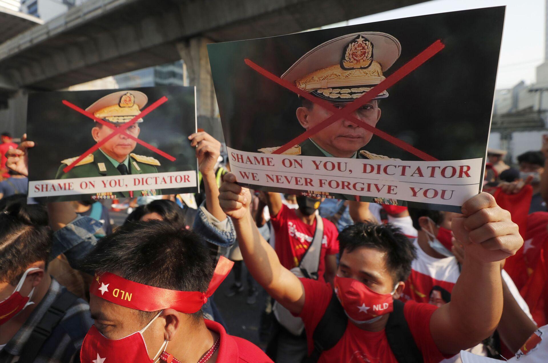 Manifestantes birmanos en Tailandia protestan contra el golpe de Estado en Birmania - Sputnik Mundo, 1920, 11.02.2021