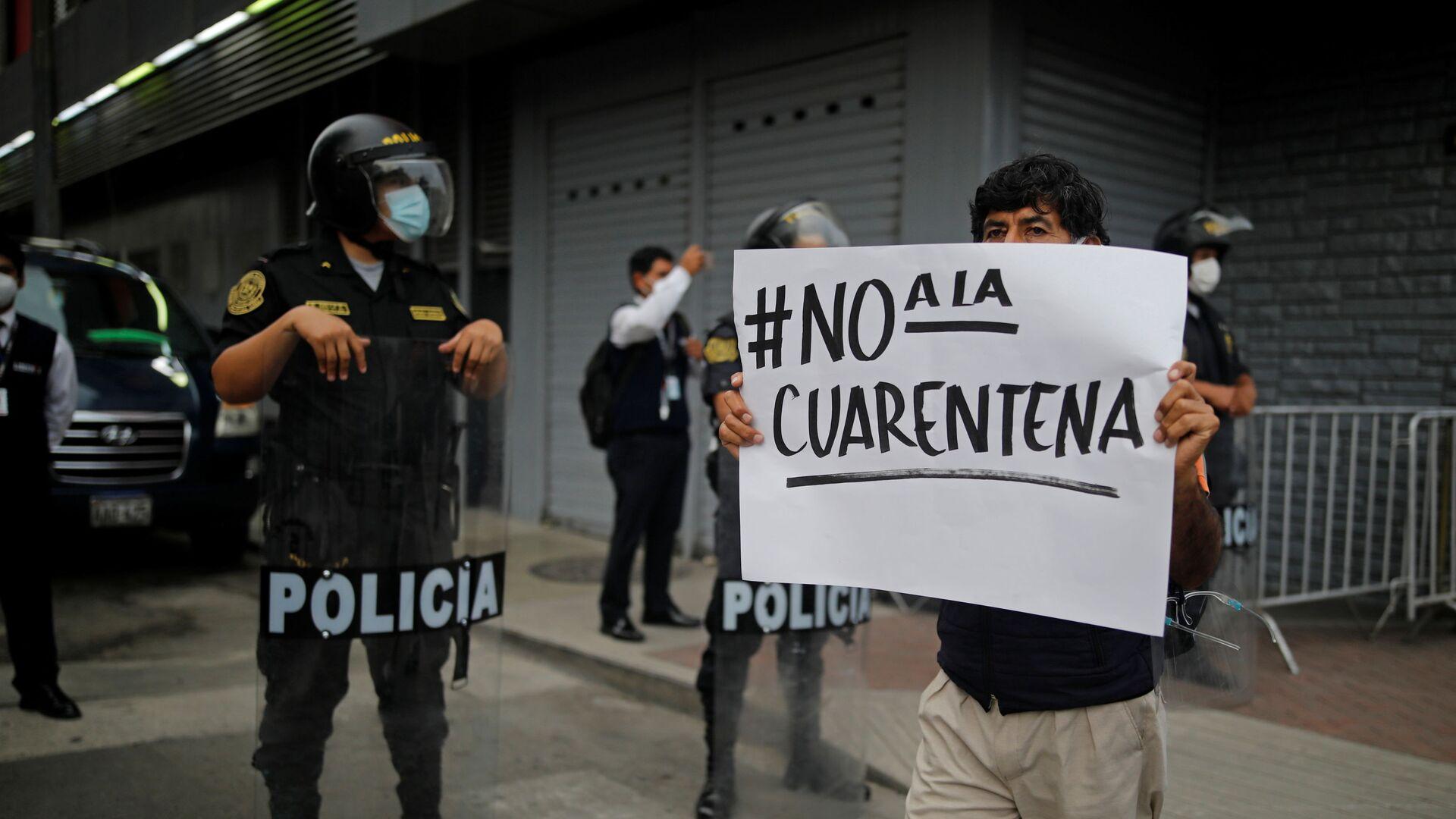 Protestas contra la cuarentena en Perú - Sputnik Mundo, 1920, 01.02.2021
