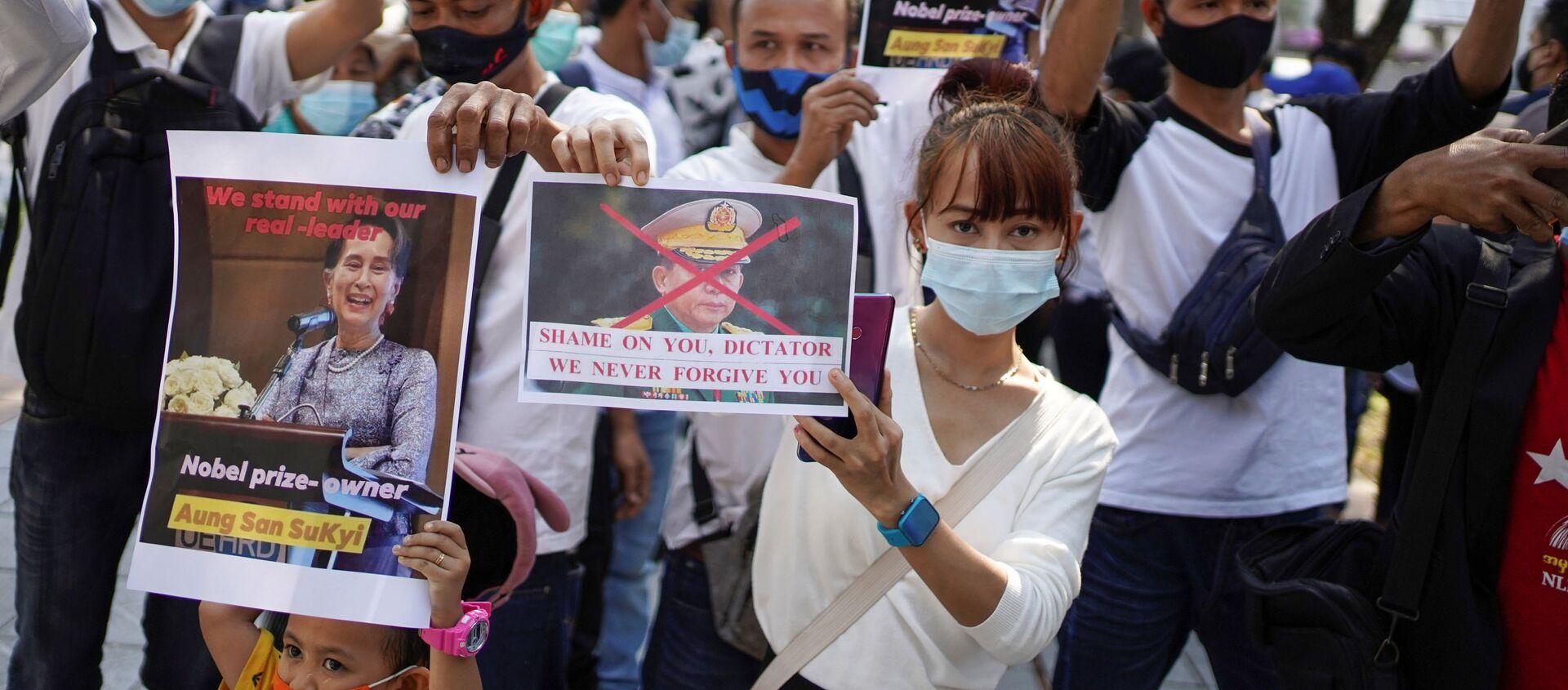 Protestas en Birmania - Sputnik Mundo, 1920, 03.02.2021