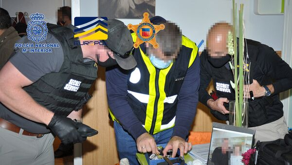 Agentes españoles y estadounidense durante un registro - Sputnik Mundo