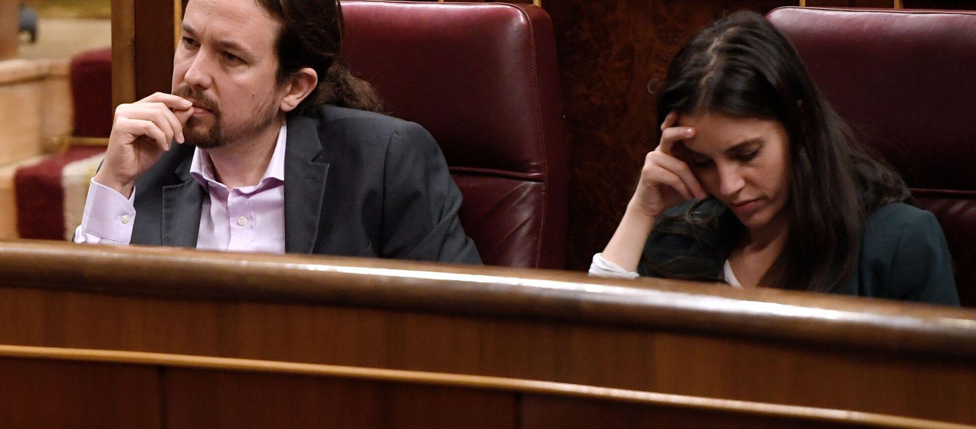 Pablo Iglesias e Irene Montero en el congreso de los diputados - Sputnik Mundo, 1920, 03.02.2021