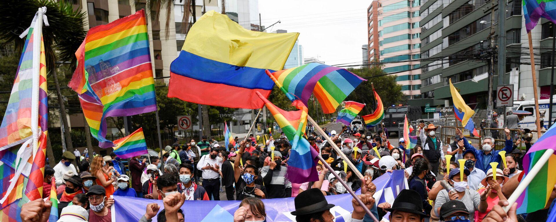 Simpatizantes del candidato a la presidencia ecuatoriana Yaku Pérez - Sputnik Mundo, 1920, 09.02.2021
