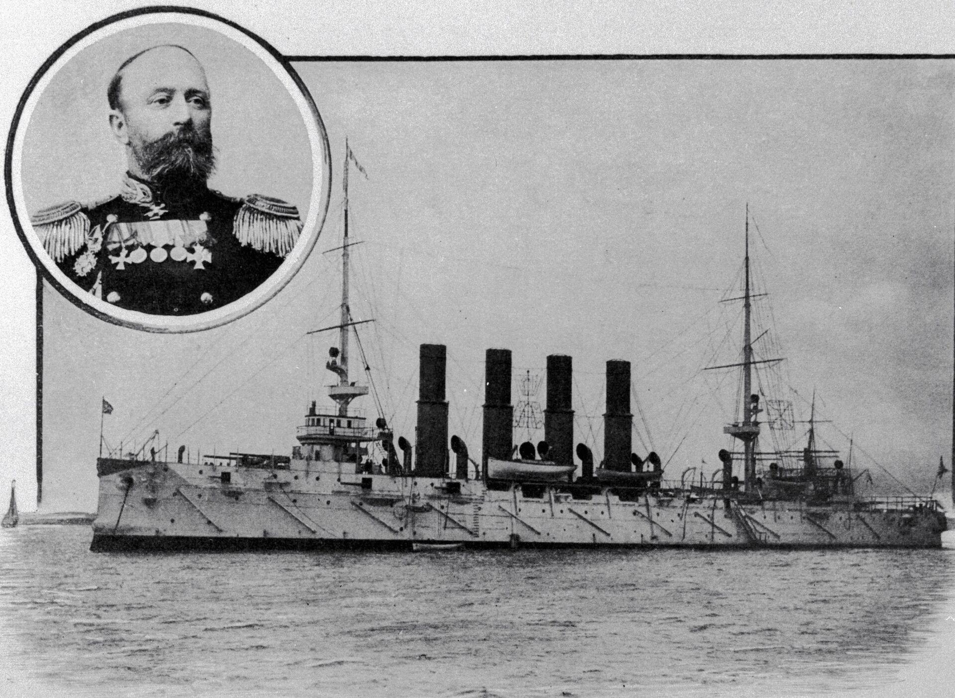 El capitán de Variag, Vsévolod Rúdnev, y su buque - Sputnik Mundo, 1920, 11.02.2021