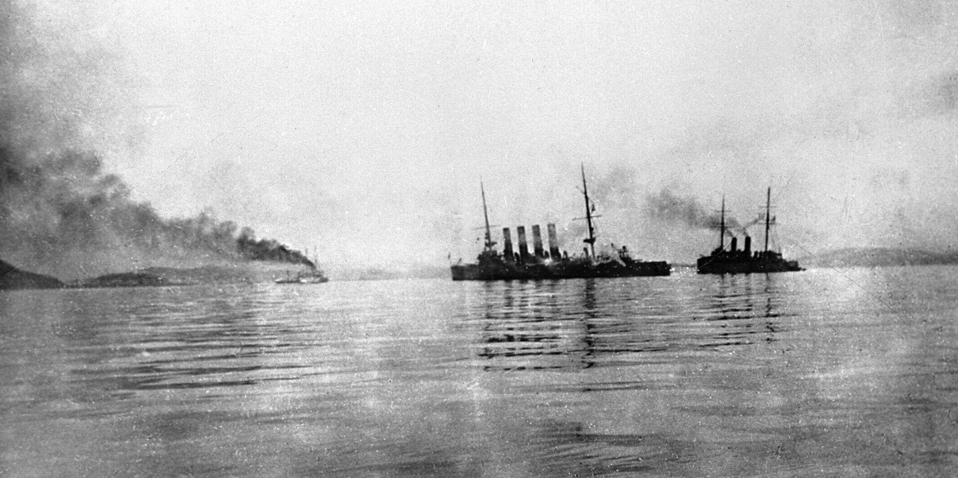 Buques rusos Variag y Koreets, tras la batalla de Chemulpo - Sputnik Mundo, 1920, 11.02.2021