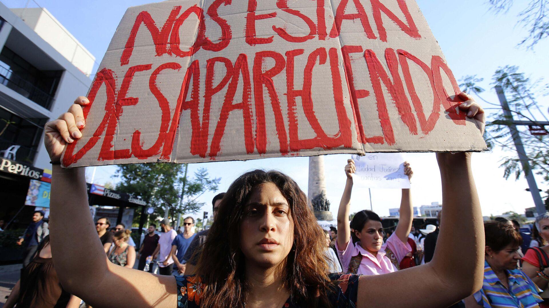 Protesta estudiantil en Guadalajara, Jalisco, contra la violencia y las desapariciones de personas en México - Sputnik Mundo, 1920, 26.08.2021