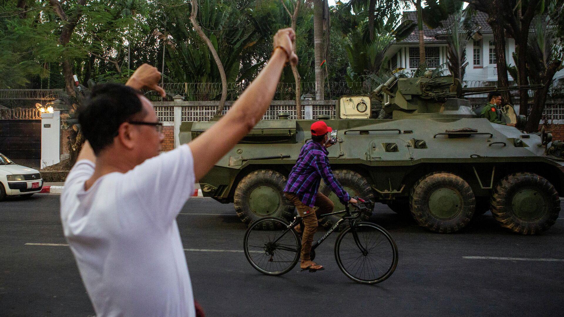 Protestas en Yangon, Birmania - Sputnik Mundo, 1920, 15.02.2021