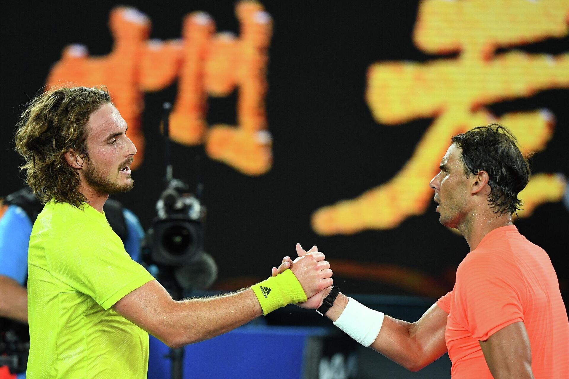 Tsitsipas y Nadal tras el partido de cuartos de final de Australia 2021 - Sputnik Mundo, 1920, 17.02.2021