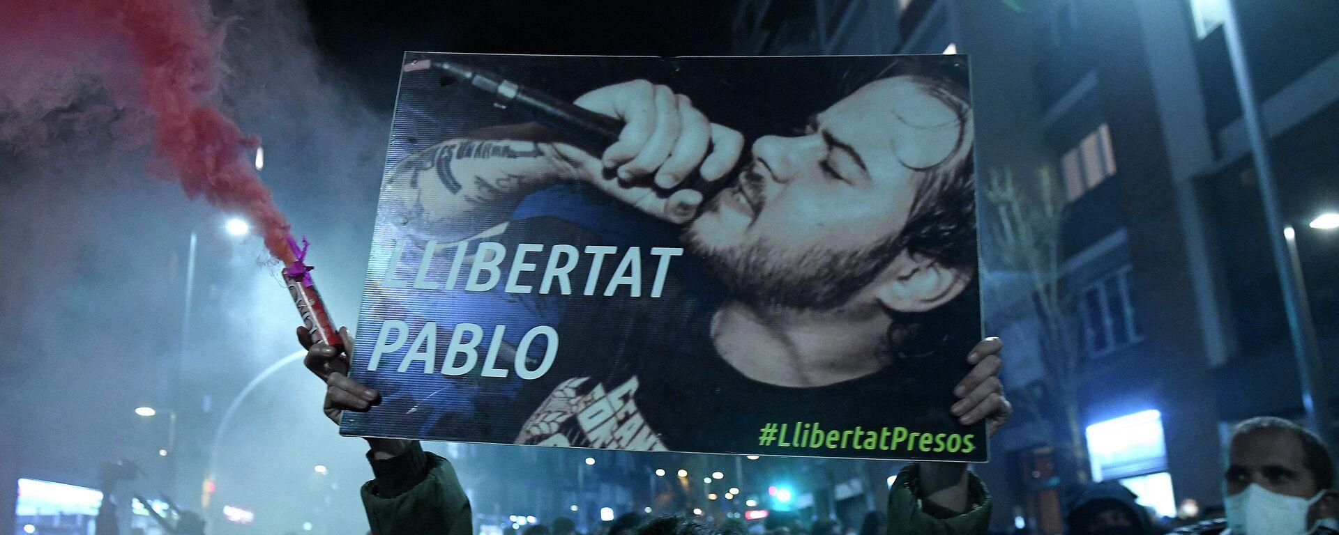 Manifestación a favor de Pablo Hasél. Barcelona, 16 de febrero de 2021 - Sputnik Mundo, 1920, 17.02.2021