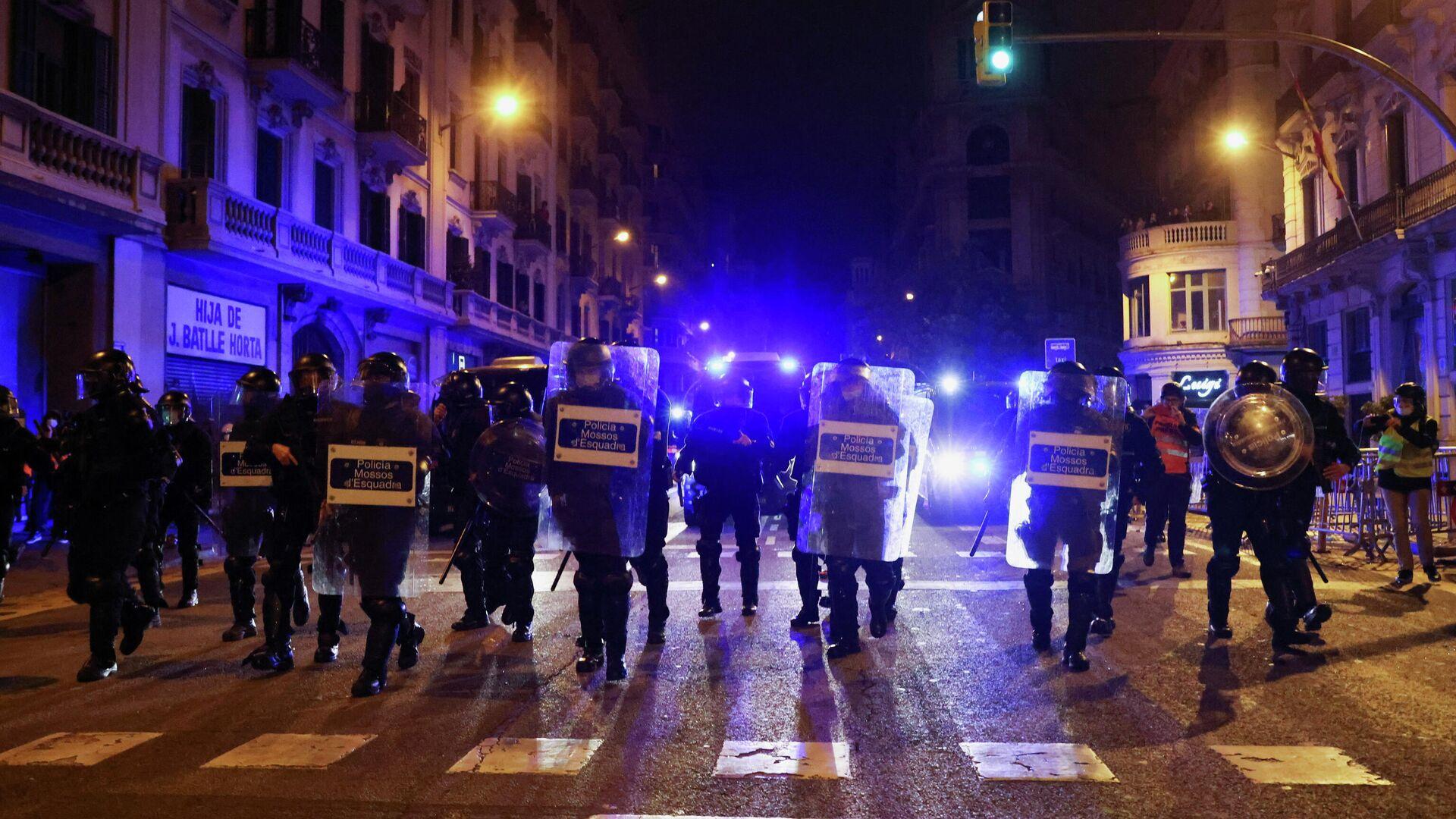 Protestas en Barcelona, España - Sputnik Mundo, 1920, 21.02.2021