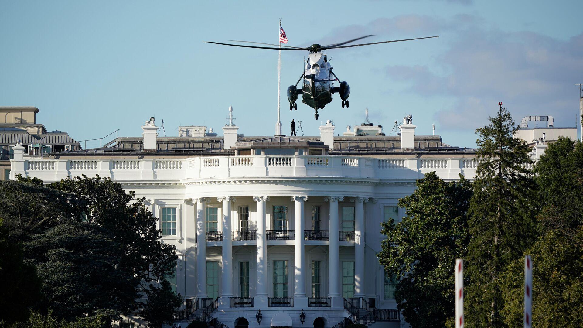 Un helicóptero aterriza sobre el césped de la Casa Blanca - Sputnik Mundo, 1920, 06.03.2021
