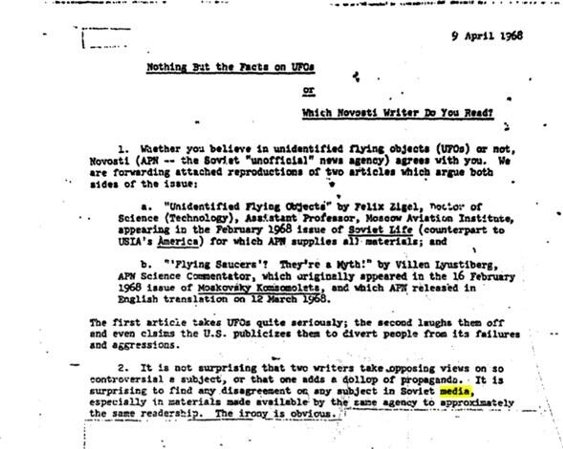 Un fragmento del informe de la CIA sobre los ovnis en los medios soviéticos - Sputnik Mundo, 1920, 17.03.2021