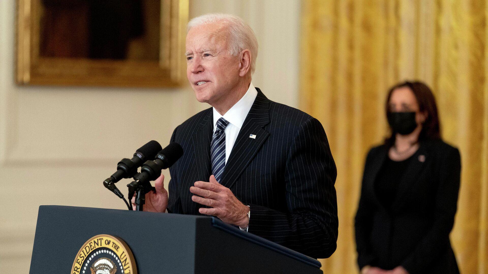 Joe Biden, presidente de EEUU, y Kamala Harris, vicepresidenta (archivo) - Sputnik Mundo, 1920, 26.03.2021