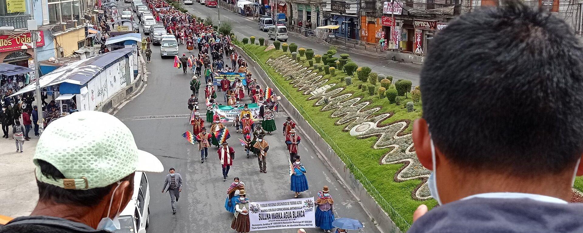 La marcha de campesinos e indígenas en La Paz reclamando justicia por los muertos en las masacres de 2019 - Sputnik Mundo, 1920, 22.03.2021