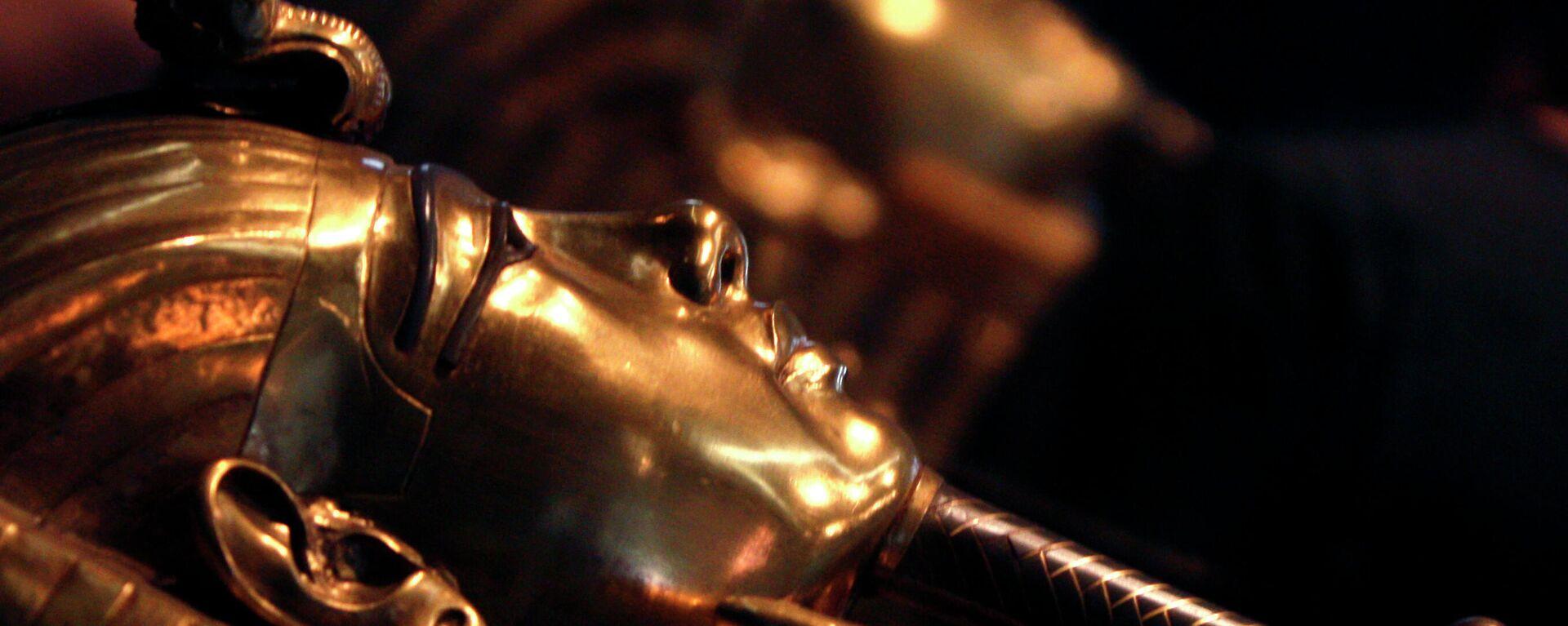 Uno de los famosos sarcófagos dorados del rey Tutankamón en el Museo Egipcio de El Cairo, Egipto - Sputnik Mundo, 1920, 25.03.2021