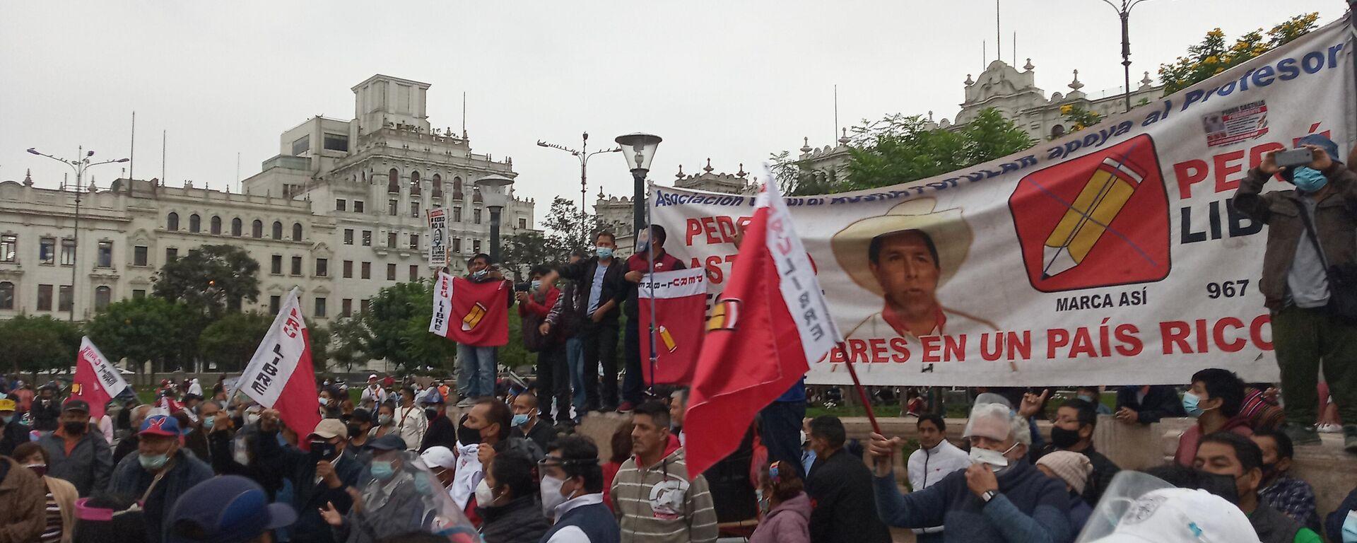Acto a favor de Pedro Castillo en la plaza San Martín de Lima - Sputnik Mundo, 1920, 19.06.2021
