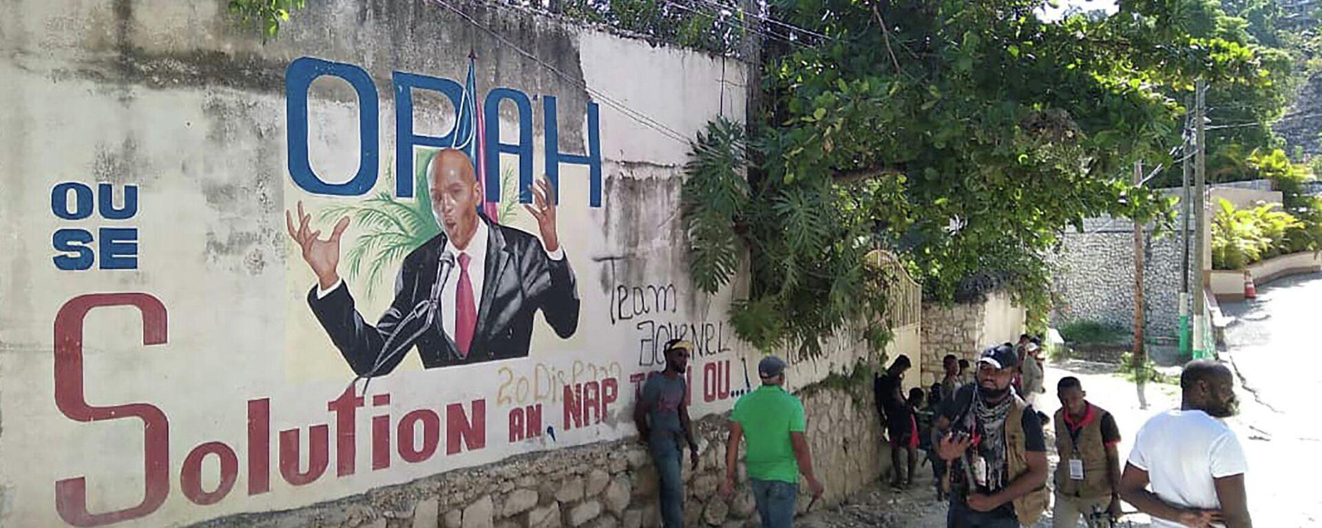 Mural con el presidente de Haití Jovenel Moise, asesinado el 7 de julio - Sputnik Mundo, 1920, 28.07.2021