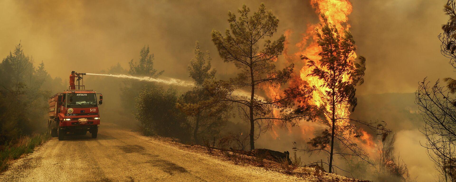 Bomberos combaten los incendios forestales en Turquía - Sputnik Mundo, 1920, 31.07.2021