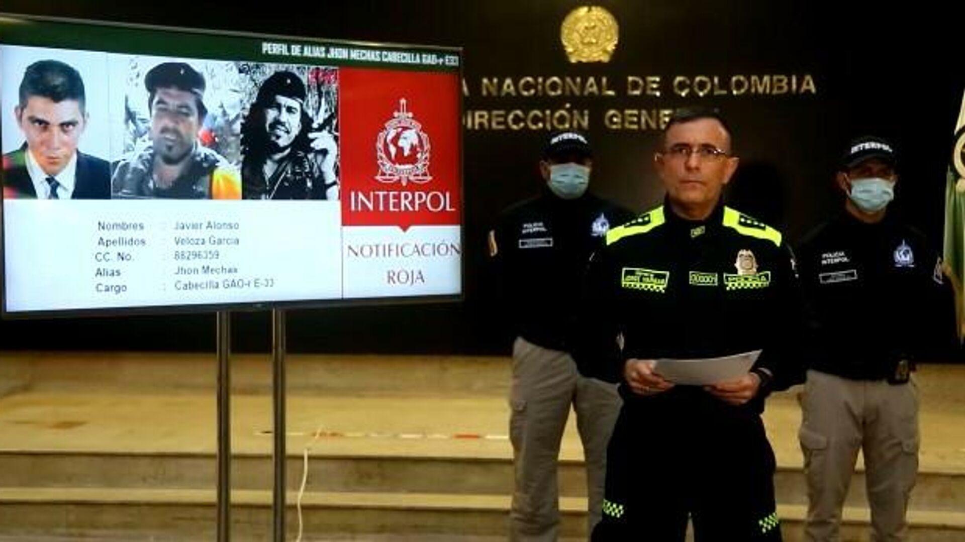 Policía de Colombia expide circular roja de Interpol contra líder de exFARC 'Jhon Mechas', el 1 de agosto del 2021 - Sputnik Mundo, 1920, 01.08.2021