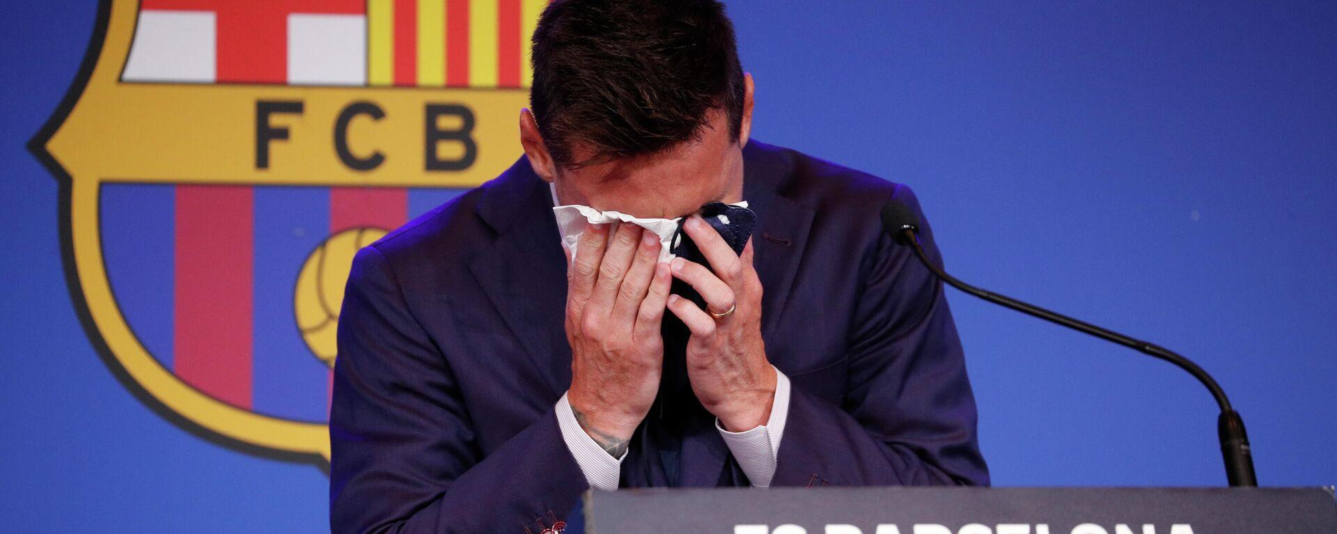 Lionel Messi durante la rueda de prensa tras su salida del FC Barcelona - Sputnik Mundo, 1920, 08.08.2021