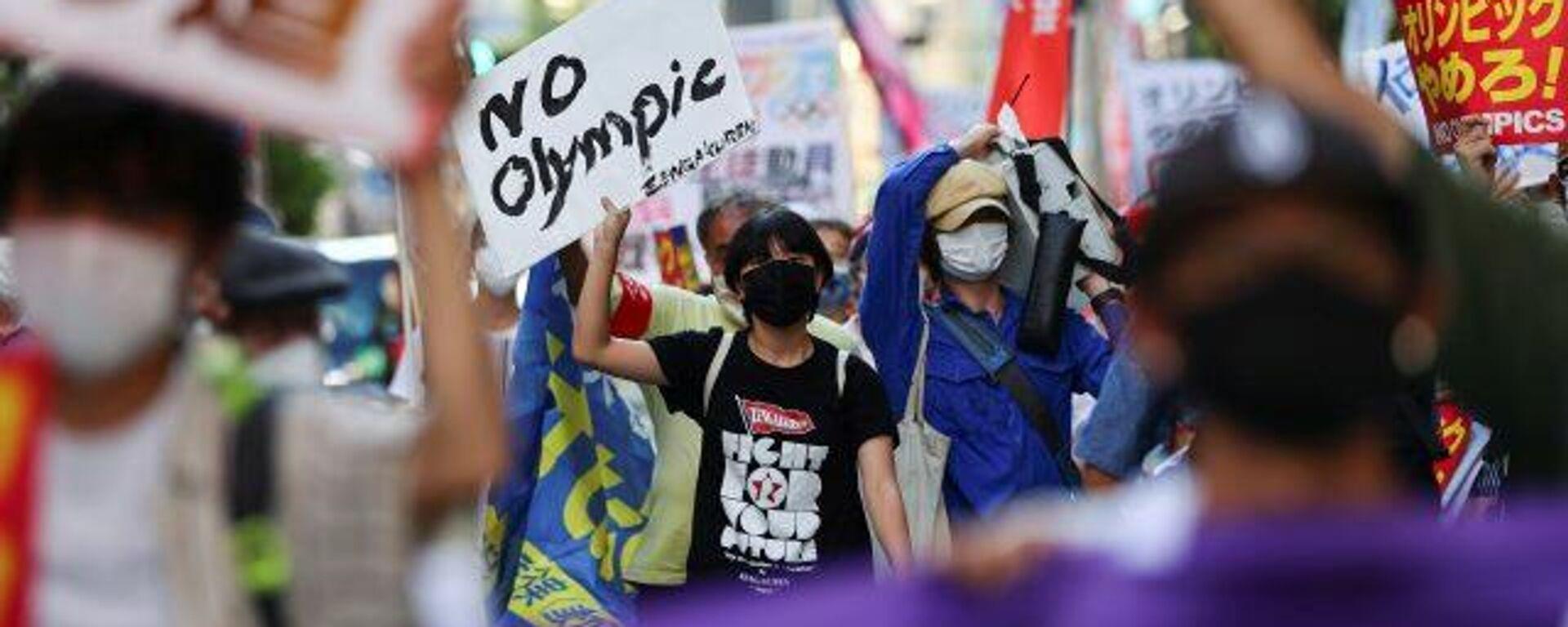 Manifestantes en Tokio despiden los Juegos Olímpicos con protestas - Sputnik Mundo, 1920, 08.08.2021