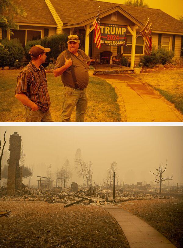 Jerry Whipple (a la derecha) discute el 23 de julio de 2021 con su vecino la posibilidad de ignorar una orden de evacuación obligatoria frente a su casa que se quemó dos semanas después, el 7 de agosto de 2021, debido al incendio Dixie en la ciudad de Greenville, California. - Sputnik Mundo