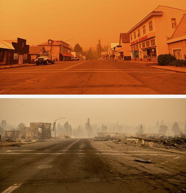 El centro de la ciudad de Greenville el 23 de julio de 2021 (arriba) y sus ruinas tras el incendio de Dixie el 4 de agosto de 2021. - Sputnik Mundo