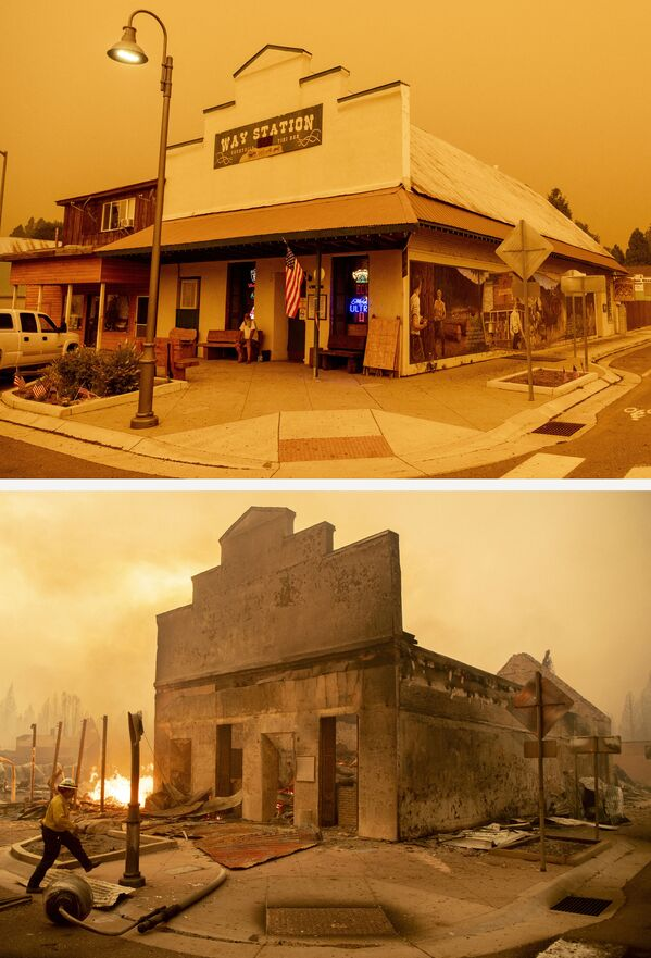 El bar The Way Station el 23 de julio de 2021 (arriba) y sus ruinas tras el incendio de Dixie (abajo) el 4 de agosto de 2021, en Greenville, California. - Sputnik Mundo
