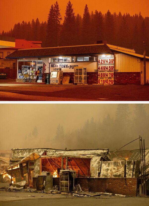La tienda de una gasolinera antes de quemarse el 23 de julio de 2021 y sus ruinas el 4 de agosto de 2021 tras el incendio de Dixie en Greenville. - Sputnik Mundo