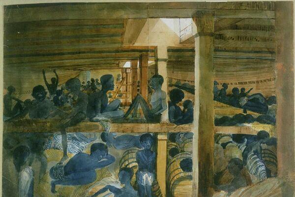 Pintura del barco Albornoz, donde los conquistadores españoles trasladaban esclavos de África hacia América - Sputnik Mundo