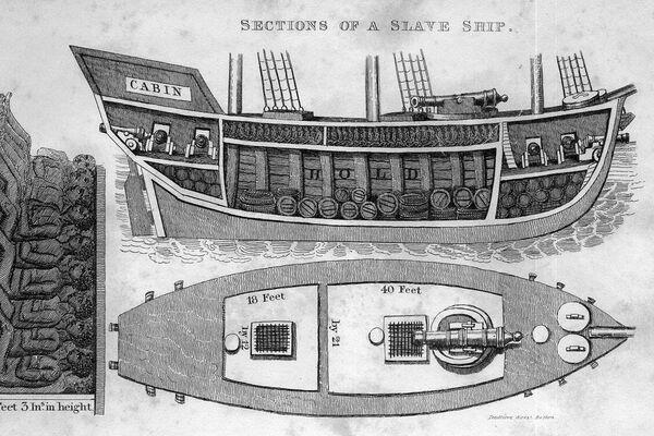 Dibujo de un corte transversal de un barco de esclavos en Brasil, extraído del libro de Robert Walsh, publicado en 1830 - Sputnik Mundo