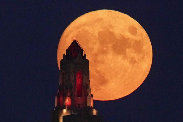 En ciertas regiones del mundo, cada luna llena del calendario recibe un nombre. De acuerdo con los pueblos indígenas norteamericanos, la luna llena de agosto es la luna de esturión.En la foto: la luna de esturión en el cielo de Kansas City, Misuri (Estados Unidos). - Sputnik Mundo
