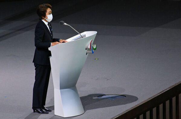 El evento se celebró sin público debido a las restricciones por la pandemia. En la foto: la presidenta del Comité Organizador de los Juegos Olímpicos y Paralímpicos de Tokio, Seiko Hashimoto, en la ceremonia de inauguración de los Juegos Paralímpicos 2020. - Sputnik Mundo