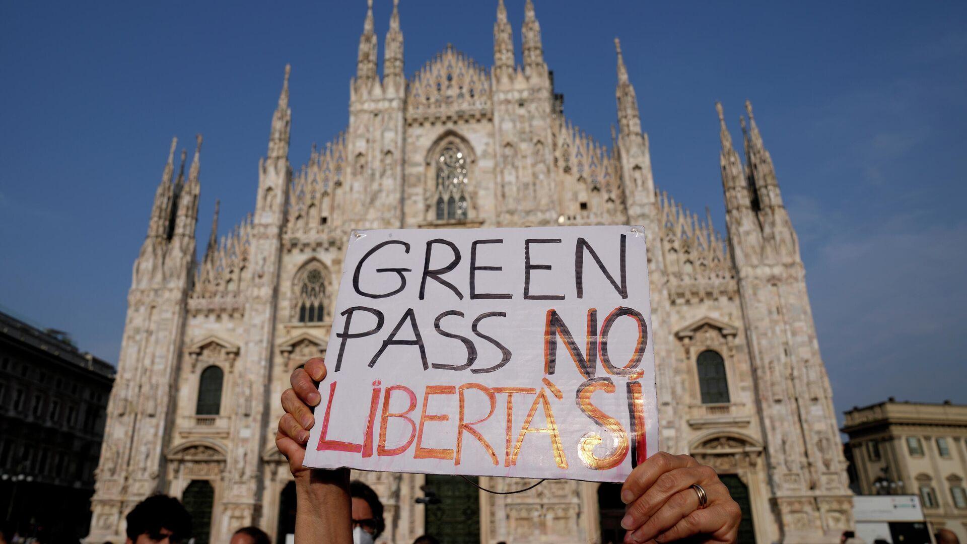 Protestas en Italia contra el pase verde - Sputnik Mundo, 1920, 02.09.2021